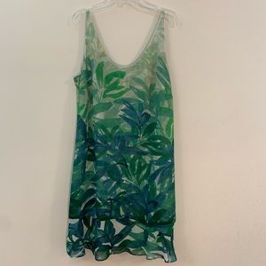 Cabi Castaway Dress tropical green leaf print M
